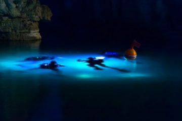 immersione con torcia da sub